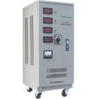 The TNS series three-phase high precision fully automatic AC voltage stabilizer of which the performance is composed base is SVC(TND)single phase products.the input phase is three phase and with neutral system.this kind products used three servo-motor control the output,it is of three phase low power consumption,reliable work.high precision of stabilization,and good for in regions where the net voltage is much fluctuating.panel have three ampere meter indication the output current.one voltage meter and changeover switch shift test each phase voltage.also have one pushbutton switch show input and voltage voltage.